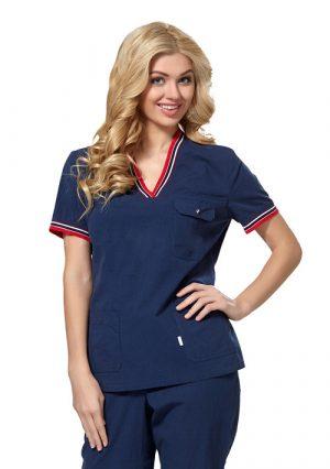 Стильная темно-синяя медицинская блуза LE2103