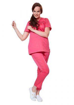Яркие женские брюки для врача LF3101 розовые