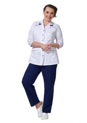 Универсальные женские брюки под блузу или халат LL3106 темно-синие