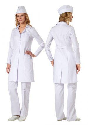 """Универсальный медицинский халат для медсестер и студентов """"Стандарт"""" белый"""