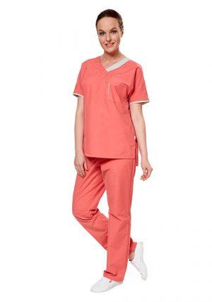 Комплект одежды женский LE6101 (блуза и брюки) коралловые. Lantana Eco