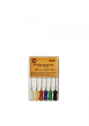Инструмент эндодонтический ручной для работы с гуттаперчей. Spreaders №20. Комплект из 6 штук