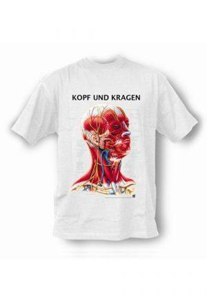 Футболка с анатомическим рисунком. Голова и шея. На немецком