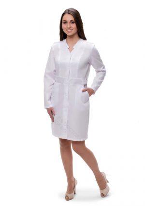 Халат медицинский женский. Doctorbig_Elegant, белый. Размер 52