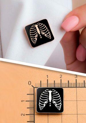 """Брошь """"Грудная клетка"""" для рентгенологов и лучевых диагностов. Серебро 925 пробы"""